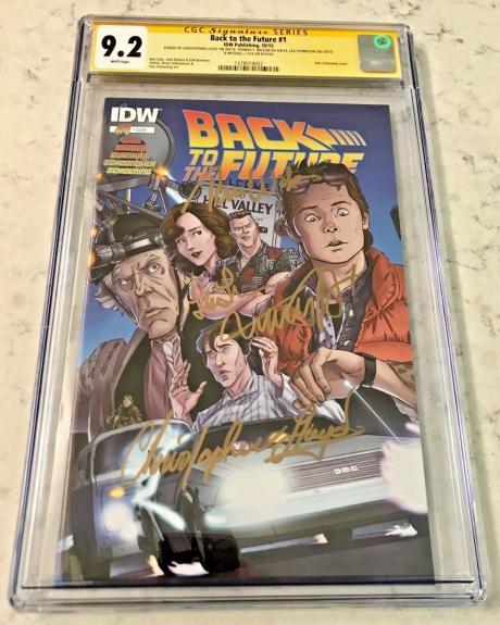 2015 Back To The Future #1 Signed By Michael J Fox Lloyd Wilson Thompson CGC 9.2