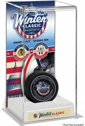 2015 Bridgestone NHL Winter Classic® Chicago Blackhawks vs. Washington Capitals Deluxe Tall Hockey Puck Display Case