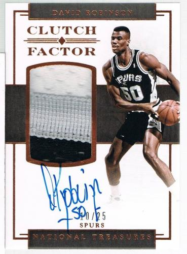 2016 Panini DAVID ROBINSON National Treasures Clutch Factor Jersey Autograph /25