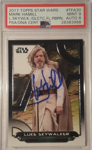 2017 Mark Hamill Luke Skywalker Star Wars Topps Signed PSA MINT 9 AUTO 7