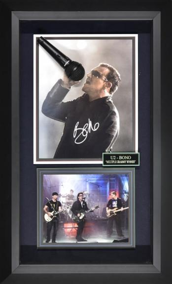 20×33 Bono from 11×14 Signed Photo framed with microphone and U2 band photo