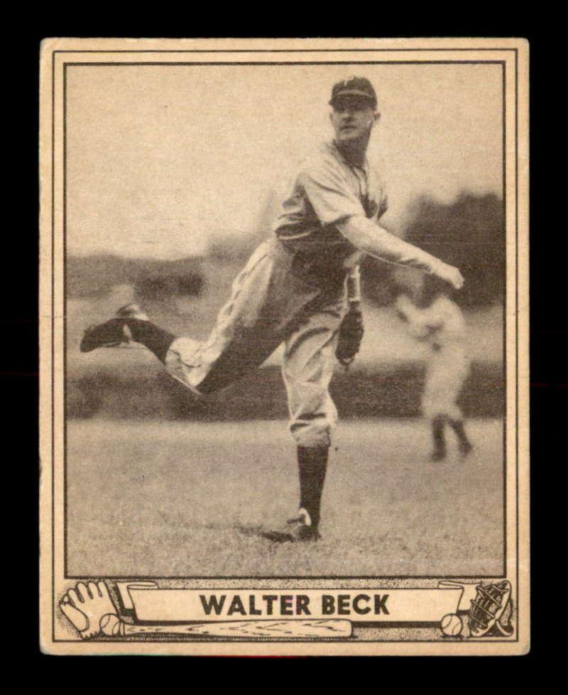217 Walter Beck 1940 Play Ball Baseball Cards Graded Vgex