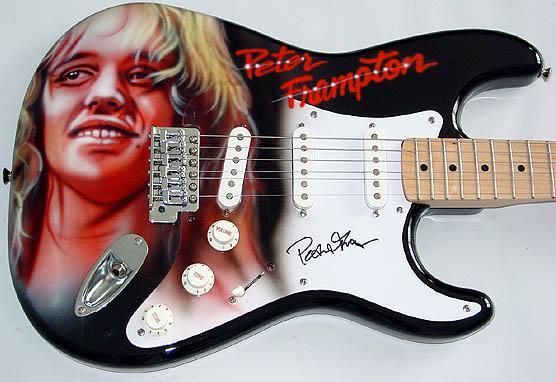 peter frampton autographed signed airbrush guitar psa dna. Black Bedroom Furniture Sets. Home Design Ideas