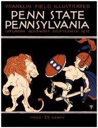 1922 Penn Quakers vs Penn State Nittany Lions 22x30 Canvas Historic Football Poster