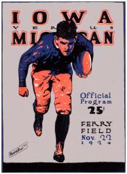 1924 Michigan Wolverines vs Iowa Hawkeyes 22x30 Canvas Historic Football Poster