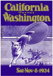 1924 Washington Huskies vs California Bears 22x30 Canvas Historic Football Print