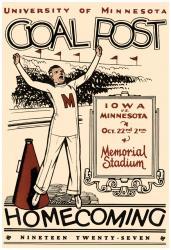 1927 Minnesota Golden Gophers vs Iowa Hawkeyes 22x30 Canvas Historic Football Poster