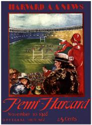 1928 Harvard Crimson vs Penn Quakers 22x30 Canvas Historic Football Poster