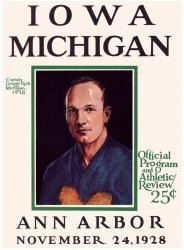 1928 Michigan Wolverines vs Iowa Hawkeyes 22x30 Canvas Historic Football Poster
