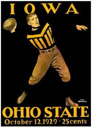 1929 Ohio State Buckeyes vs Iowa Hawkeyes 22x30 Canvas Historic Football Poster