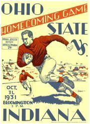 1931 Indiana Hoosiers vs Ohio State Buckeyes 22x30 Canvas Historic Football Program