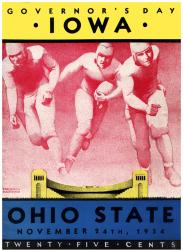 1934 Ohio State Buckeyes vs Iowa Hawkeyes 22x30 Canvas Historic Football Poster