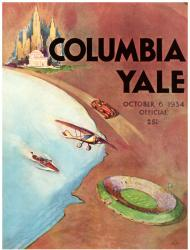 1934 Yale Bulldogs vs Columbia Lions 22x30 Canvas Historic Football Poster - Mounted Memories