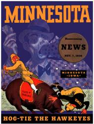 1936 Minnesota Golden Gophers vs Iowa Hawkeyes 22x30 Canvas Historic Football Poster