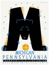 1939 Penn Quakers vs Michigan Wolverines 22x30 Canvas Historic Football Poster