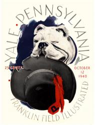 1940 Penn Quakers vs Yale Bulldogs 22x30 Canvas Historic Football Poster