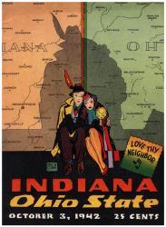 1942 Ohio State Buckeyes vs Indiana Hoosiers 22x30 Canvas Historic Football Print