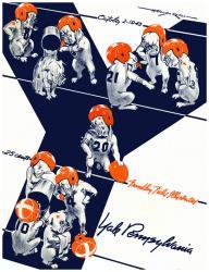 1943 Penn Quakers vs Yale Bulldogs 22x30 Canvas Historic Football Poster