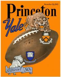 1943 Yale Bulldogs vs Princeton Tigers 22x30 Canvas Historic Football Program