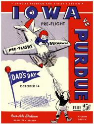 1944 Purdue Boilermakers vs Iowa Pre-Flight Seahawks 22x30 Canvas Historic Football Poster