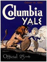 1944 Yale Bulldogs vs Columbia Lions 22x30 Canvas Historic Football Poster - Mounted Memories