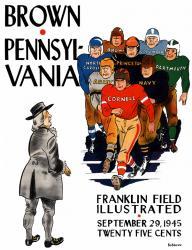 1945 Penn Quakers vs Brown Bears 22x30 Canvas Historic Football Poster