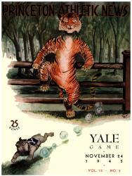 1945 Princeton Tiger vs Yale Bulldogs 22x30 Canvas Historic Football Program