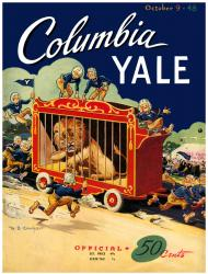 1948 Yale Bulldogs vs Columbia Lions 22x30 Canvas Historic Football Poster - Mounted Memories