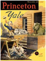 1950 Yale Bulldogs vs Princeton Tigers 22x30 Canvas Historic Football Program