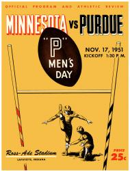 1951 Purdue Boilermakers vs Minnesota Golden Gophers 22x30 Canvas Historic Football Print