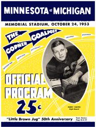 1953 Minnesota Golden Gophers vs Michigan Wolverines 22x30 Canvas Historic Football Print