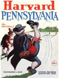 1958 Harvard Crimson vs Penn Quakers 22x30 Canvas Historic Football Poster