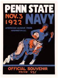 1922 Navy Midshipmen vs Penn State Nittany Lions 22x30 Canvas Historic Football Poster