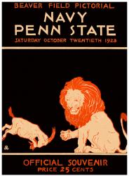 1923 Penn State Nittany Lions vs Navy Midshipmen 22x30 Canvas Historic Football Poster