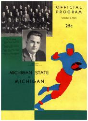 1934 Michigan Wolverines vs Michigan State Spartans 22x30 Canvas Historic Football Program