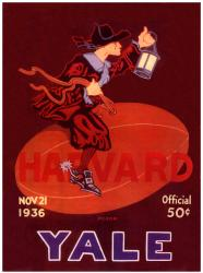 1936 Yale Bulldogs vs Harvard Crimson 22x30 Canvas Historic Football Program