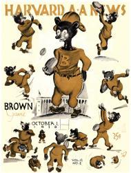 1938 Harvard Crimson vs Brown Bears 22x30 Canvas Historic Football Program