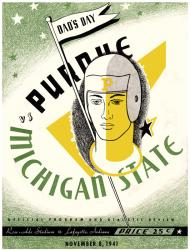 1941 Purdue Boilermakers vs Michigan State Spartans 22x30 Canvas Historic Football Program