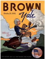 1942 Yale Bulldogs vs Brown Bears 22x30 Canvas Historic Football Program