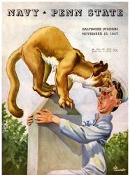 1947 Navy Midshipmen vs Penn State Nittany Lions 22x30 Canvas Historic Football Poster
