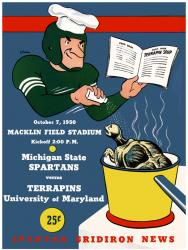 1950 Michigan State Spartans vs Maryland Terrapins 22x30 Canvas Historic Football Program