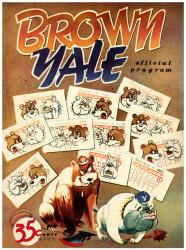1951 Yale Bulldogs vs Brown Bears 22x30 Canvas Historic Football Program