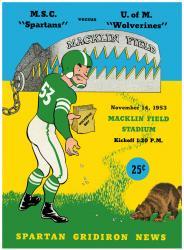 1953 Michigan Wolverines vs Michigan State Spartans 22x30 Canvas Historic Football Program