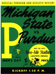 1953 Purdue Boilermakers vs Michigan State Spartans 22x30 Canvas Historic Football Program