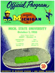 1955 Michigan Wolverines vs Michigan State Spartans 22x30 Canvas Historic Football Program