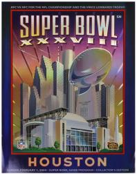 "2004 Patriots vs Panthers 22"" x 30"" Canvas Super Bowl XXXVIII Program"