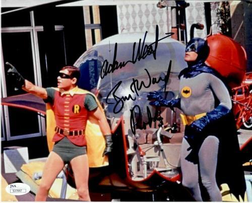 Adam West Burt Ward Dual Autographed Signed 8X10 Photo Batman Robin Pointing JSA