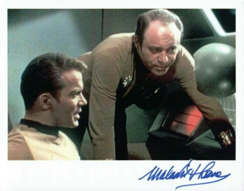 Malachi Throne Signed Autographed 8X10 Photo Star Trek w/William Shatner w/COA