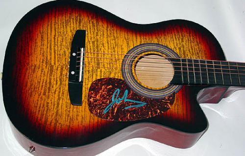 Goo Goo Dolls Autographed Tiger Vein Sunburst Ac/El Guitar  AFTA AFTAL