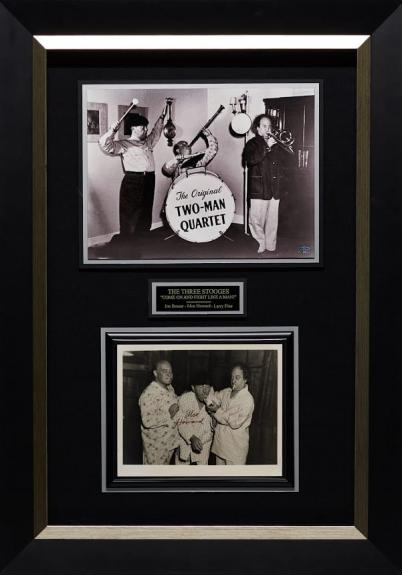 """24×34 The Three Stooges """"Two Man Quartet"""" Display signed by Joe Besser, Moe Howard, and Larry Fine."""